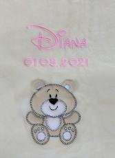Babydecke - bestickt mit Name - Beige BÄR