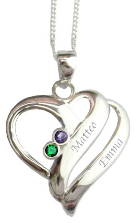 Herz-Halskette mit 2 Namen & Monats-Geburts-Kristall - Kiddi-Media