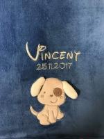 Babydecke - bestickt mit Name - Brillantblau HUND