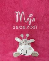 Babydecke - bestickt mit Name - Hellpink GIRAFFE