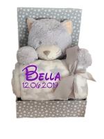 Babydecke mit Name & Geburtsdatum bestickt inkl. Plüsch Stofftier (Grau - KATZE)