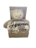 Babydecke mit Name & Geburtsdatum bestickt inkl. Plüsch Stofftier (Grau - EULE)
