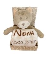 Babydecke mit Name & Geburtsdatum bestickt inkl. Plüsch Stofftier (Sterne Decke - KATZE)