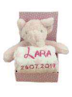 Babydecke mit Name & Geburtsdatum bestickt inkl. Plüsch Stofftier (Rosa - ELEFANT)