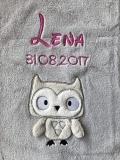 Babydecke - bestickt mit Name - Grau EULE